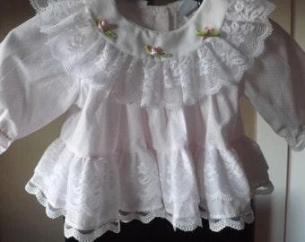 Baby Dresses, Newborn, Infants, Vintage Pink Baby Dress Lace Trim, Vintage Kids Clothes, Vintage Dresses
