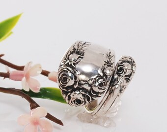 Sterling Silver Spoon Ring - Normandy Rose Sterling Spoon Ring - Vintage Sterling Spoon Ring - Silverware Spoon Ring - Sterling Ring (mcfS1)