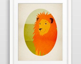 Lion Art Print, Safari Nursery Decor, Jungle Nursery Letter Art, Alphabet Art, Zoo Animals