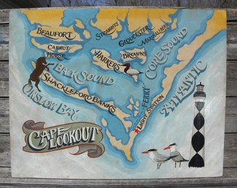 Cape Lookout NC Crystal Coast   map beach  Sign, hand painted, original, Z CL 2