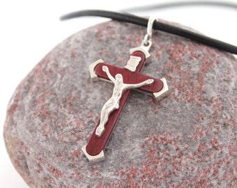 Wooden Pendant, Silver pendant, Pendant Necklace, Wood, Purple heart, Sterling silver 925, Handmade, Silver jewelry, WoodArtJewelry