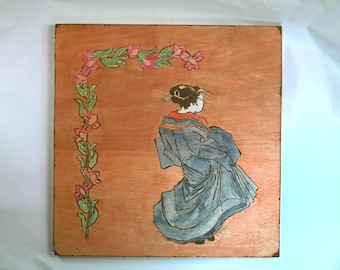 Japanese Handcrafted Art Pyrography-Wood Burnt Wall Plague Signed