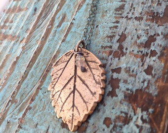 Bronze leaf necklace / labradorite stones