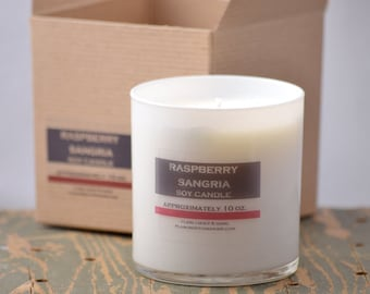 Raspberry Sangria Soy Candle White Glass Tumbler 10oz - raspberry candle - wine candle - sangria candle - fruit candle - summer candle
