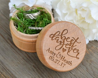 Best Day Ever Engraved Wedding Ring Box - Rustic Wedding Ring Box