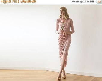 Maxi wrap pink dress, Maxi pink gown with long sleeves