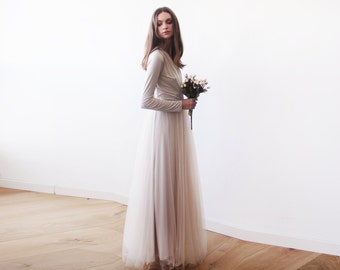Champagne maxi tulle gown with long sleeves , Bridesmaids maxi champagne dress 1066