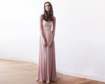 Blush pink maxi ballerina gown, Sweetheart neckline blush maxi dress, Bridesmaids dress