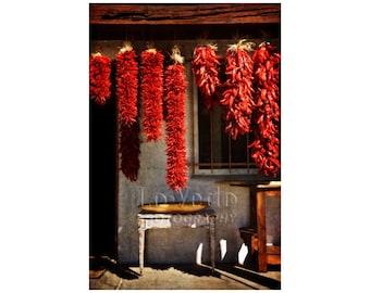 Chile Ristras Photo, Autumn Harvest, Santa Fe, Southwest Decor, Kitchen Art, Food Photography, Market, Restaurant Art