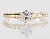 Antique 1920s 14K Yellow Gold Solitaire Diamond Ring
