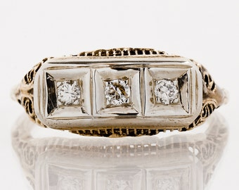 Antique Band - Antique 1920's 14k Yellow & White Gold 3-Stone Band