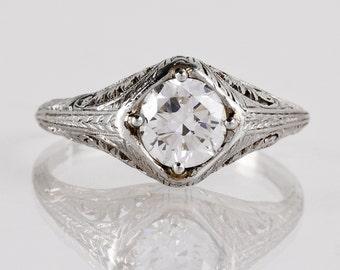 Antique Engagement Ring - Antique 1920s Platinum Diamond Engagement Ring