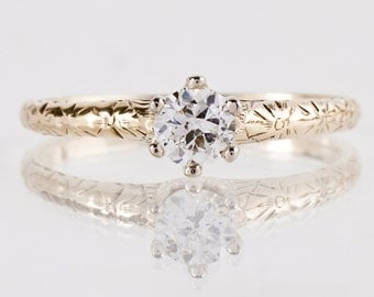 Antique Engagement Ring - Antique 1920s 14K Yellow Gold Solitaire Diamond Ring