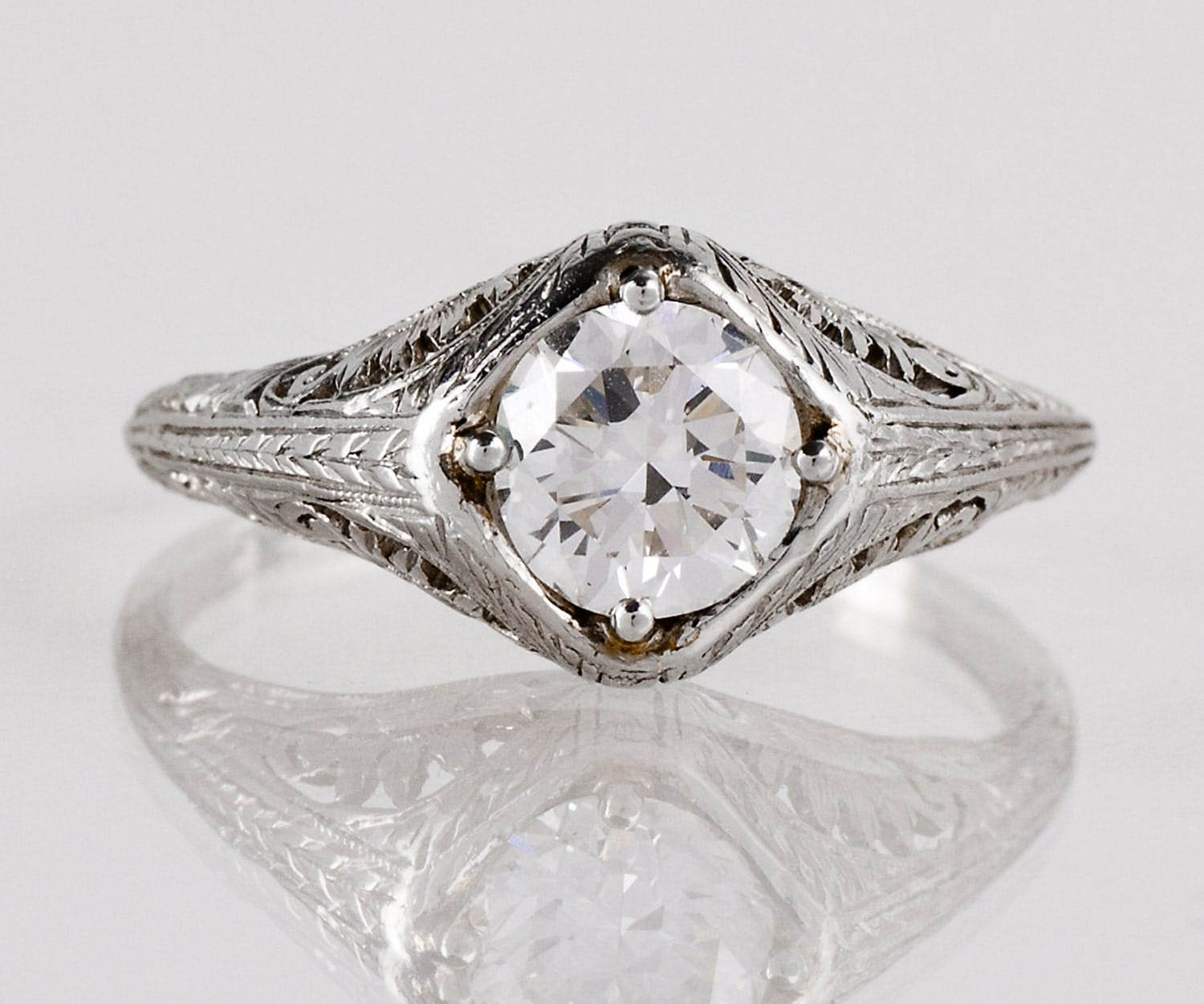 antique engagement ring antique 1920s platinum