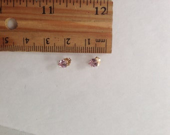14K Solid Yellow Gold Pink Levender June Birthstone Earring set