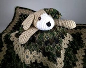 Huggable Sgt. PUPSTER Lovey Blankie for Baby, Perfect for Travel - Toy Wubby Security Blanket Puppy Camo Camouflage