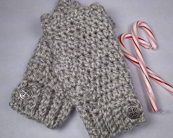 Heather Gray HEARTLAND Chunky Crocheted Wrist Warmers - Metal Buttons ~ Keep Warm in Style this Winter