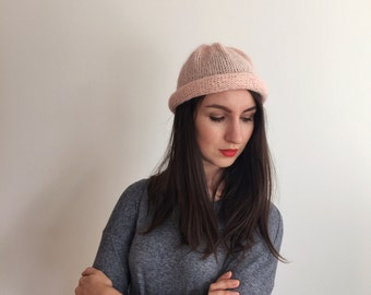 Knit Hat, Knit Comfy Hat, Pink Knit Hat, Pink Beanie, Knitted Beanie, Womens Knit Hat, Girls Knit Hat, Comfy Hat, Slouchy Beanie Rolled Rim