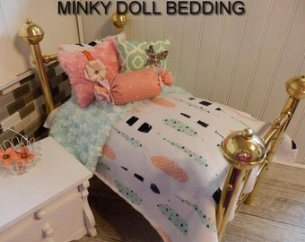 """American Girl Doll bedding,Aqua and Coral Feathers Comforter with Reversible Aqua Minky, 4 Decorative pillows, 18-20"""" Dolls  # 128"""