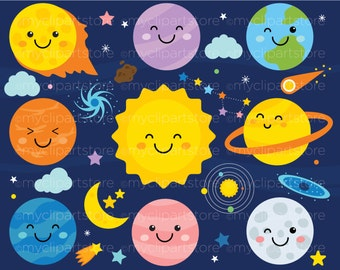 Clipart - Solar System / Galaxy / Outer Space / Kawaii - Digital Clip Art (Instant Download)