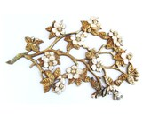 Floral Gold Tone Wall Plaque Vintage Hollywood Regency Home Decor