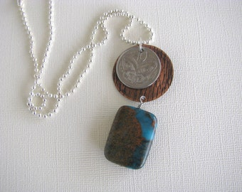 New Zealand, Butterfly, Coin Necklace, Maori Mask, 10 Cent, Impression Jasper, Copper, 1981