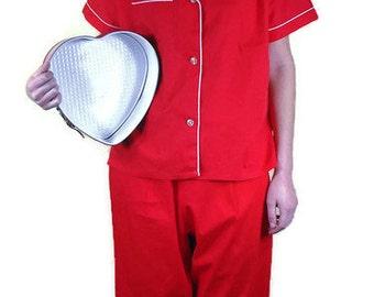 Vintage Ladies Red Pajamas - Mid Century Pajamas, Retro Red Pajamas, Valentine Red Pajamas, Size 4-6 Jamarettes (36)