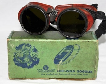 Antique 1930s Willson Chip-Weld Goggles, Welding Goggles, Willson Goggles, IOB