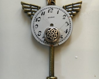 Steam Punk Winged Clock and Key Necklace