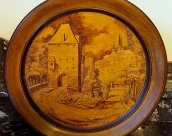Jacobs Tower Luxembourg Original Wood Carving 1964 by Henri Feltgen (1896-1982) Tableaux Relief Carving Signed and Inscribed