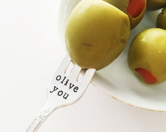 "Vintage ""olive you"" hand stamped fork"