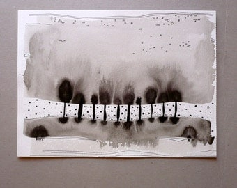 Ink Drawing , Black And White Art , Abstract landscape. Trees Painting
