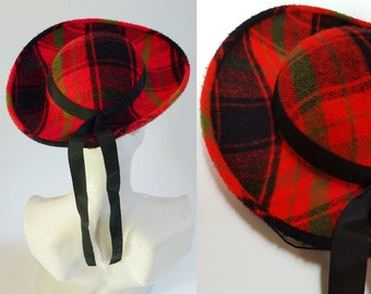 1940s / 1950s Red Plaid Wool Wide Brim Hat