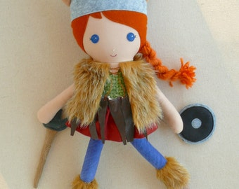 Reserved for Victoria - Fabric Doll Rag Doll Red Haired Girl Viking Doll with Sword and Shield