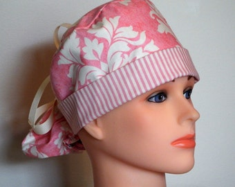 Pink with Pink and cream Brim Pony Tail Style Surgical Hat