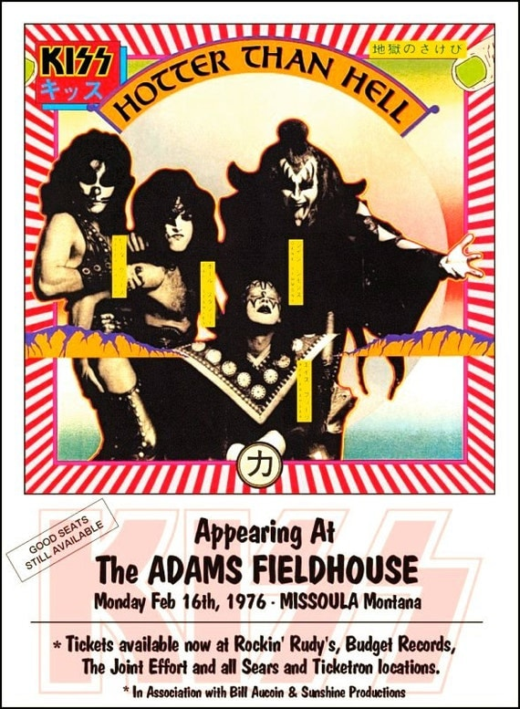 KISS Hotter Than Hell Tour Feb 16, 1976 Missoula MT Adams Fieldhouse Stand-Up Display