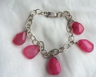 Ambers Vintage Candy Apple Dyed Jade Link Bracelet Sterling Beautiful