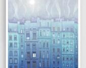 20% OFF SALE: Foggy day in Paris  - Fine art illustration Giclee print Art Poster Paris art Paris Home decor Wall decor Large wall art City