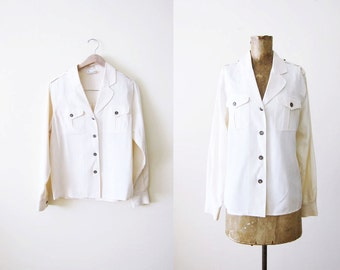 Silk Blouse / White Silk Button Up / 90s Minimalist Clothing