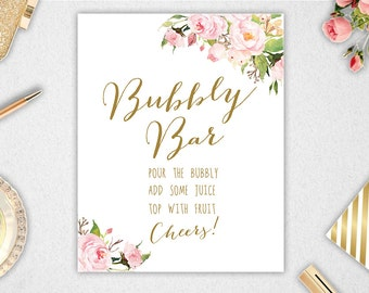 Bubbly Bar Sign // Printable // INSTANT DOWNLOAD // 8x10 // 11x14 // Wedding // Bridal Shower #PBP85