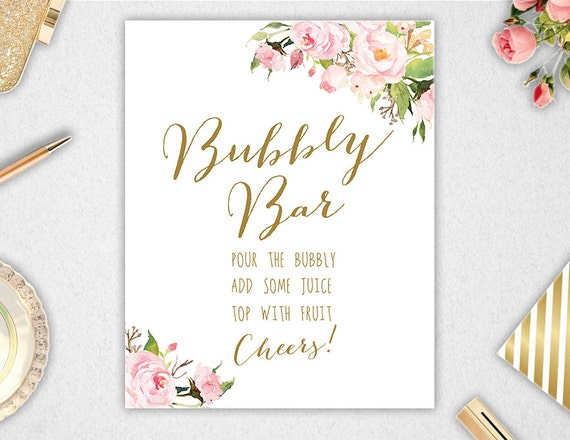 Bubbly Bar Sign Printable INSTANT DOWNLOAD 8x10