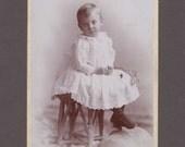 Cabinet Card of a Sweet Little Boy Holding a Dead Flower