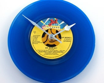 "ELO Vinyl Record CLOCK recycled 7"" jukebox single ""Mr Blue Sky"" For office, den, music room or bedroom gift women bright blue yellow"