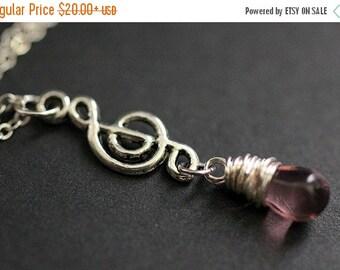 BACK to SCHOOL SALE Purple Teardrop Necklace. Musical Note Necklace. Music Necklace. Treble Clef Necklace in Silver. Handmade Jewelry.