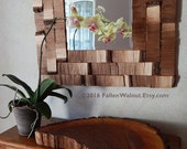 Natural Walnut Wood Square Mirror, Reclaimed Wood Mirror, READY TO SHIP
