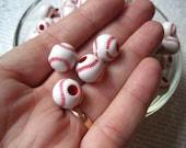 Small Baseball Beads, 12mm, 25 to 100 pcs, Sports Beads, Softball Bead, Pony Bead, Gumball Bead, Acrylic Bead, Team Sports
