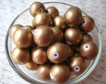 Gold Pearl Beads, 10 pcs 20mm Gold Faux Pearl Bead, Round Pearl Bead, Gumball Beads, Bubblegum Bead, Acrylic Bead