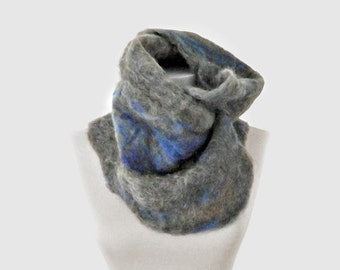 Grey Wool Scarf.  Large Scarf. Felted.  Keyhole Scarves.  Chunky scarf.