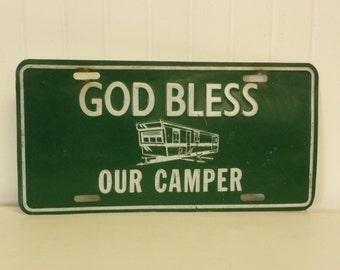 Vintage God Bless Our Camper, Metal License Plate Sign, Collectible - Vintage Travel Trailer Decor
