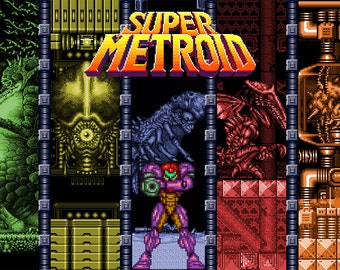 Video Game Art - Super Metroid - Digital Art Print - Super Nintendo Tribute